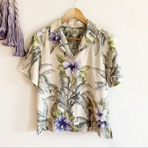 Tommy Bahama • vintage hibiscus floral blouse top